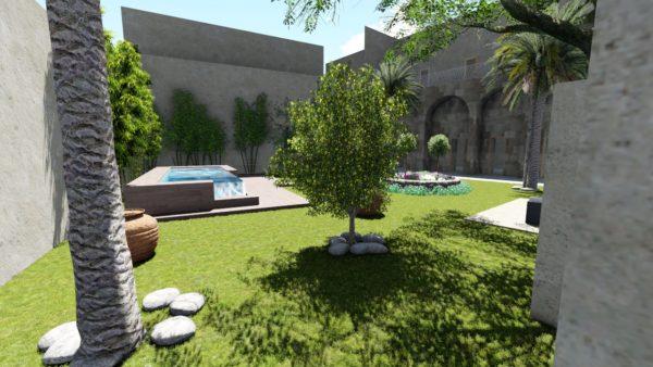 SYS-Piscine progetto piscina fuori terra centro storico parete cristallo lecce